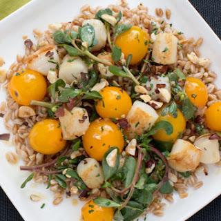 Pan-Seared Scallops with Sautéed Sun Gold Tomatoes & Purslane over Farro