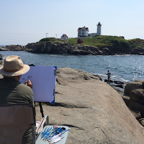 Art in the making within a photo by Mike Tapley - People Professional People ( maine, art, lighthouse, summer, drawing )