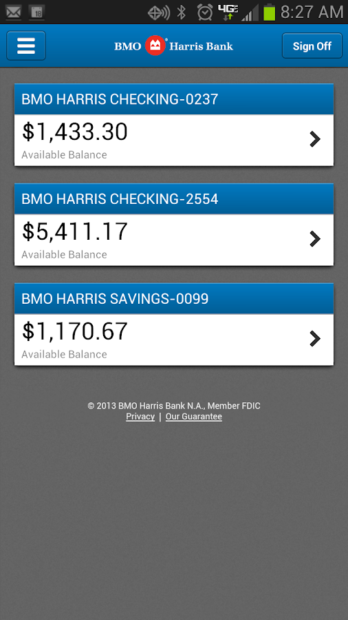 BMO Harris Mobile Banking - screenshot