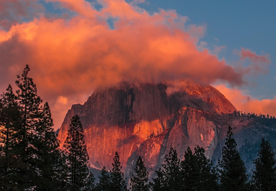 Half Dome by Shawn Yang - Landscapes Mountains & Hills ( clouds, national park, half dome, yosemite, sunset )