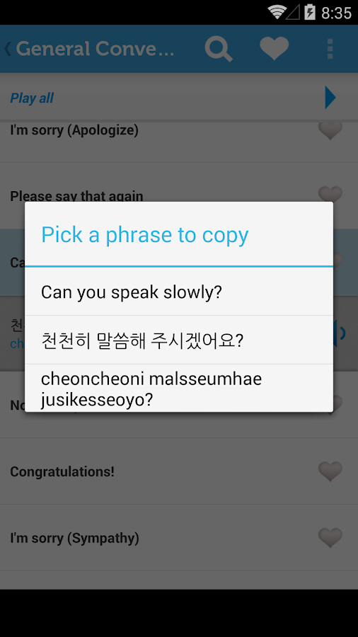 Learn Korean Phrasebook - screenshot