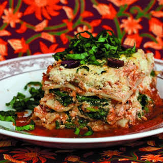Lasagna with Roasted Cauliflower Ricotta and Spinach.