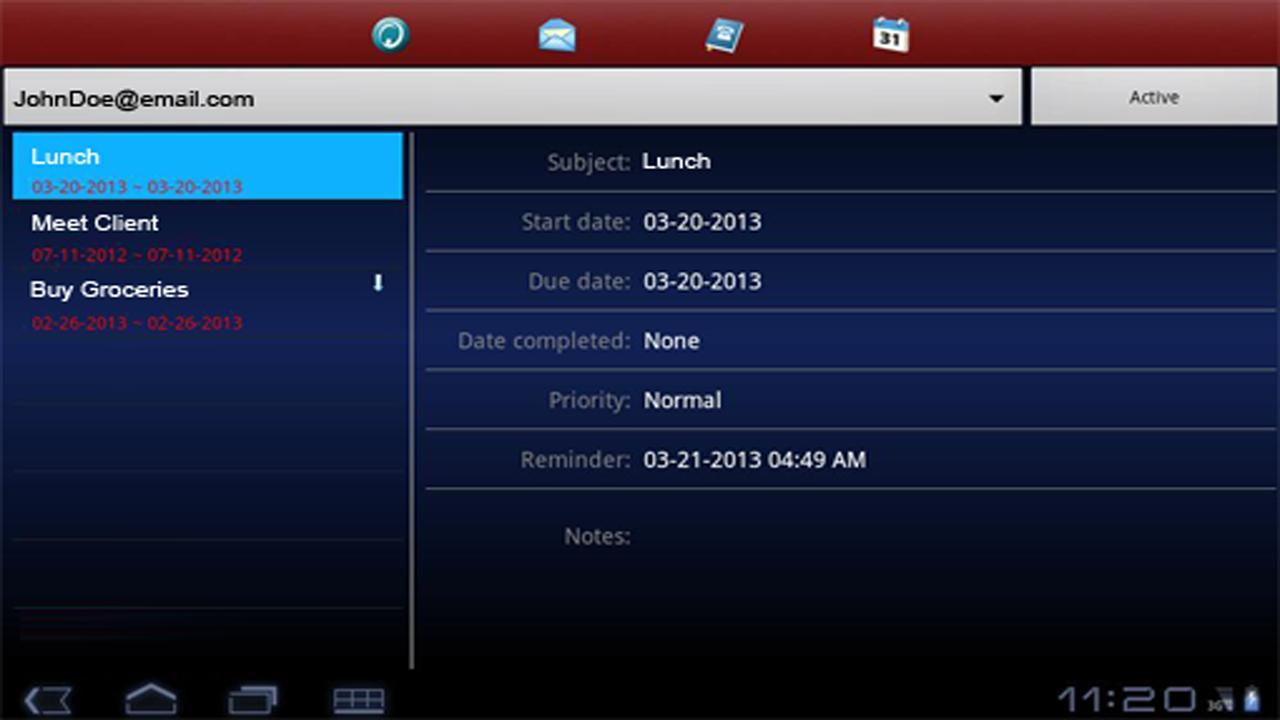 Exchange ActiveSync for Tablet - screenshot