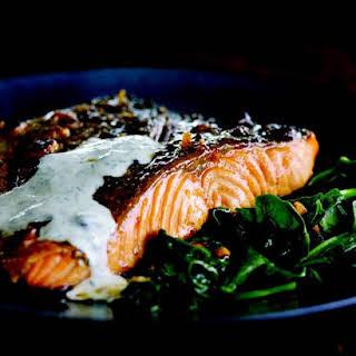 Crispy-Skin Salmon with Buttermilk-Mint Sauce.
