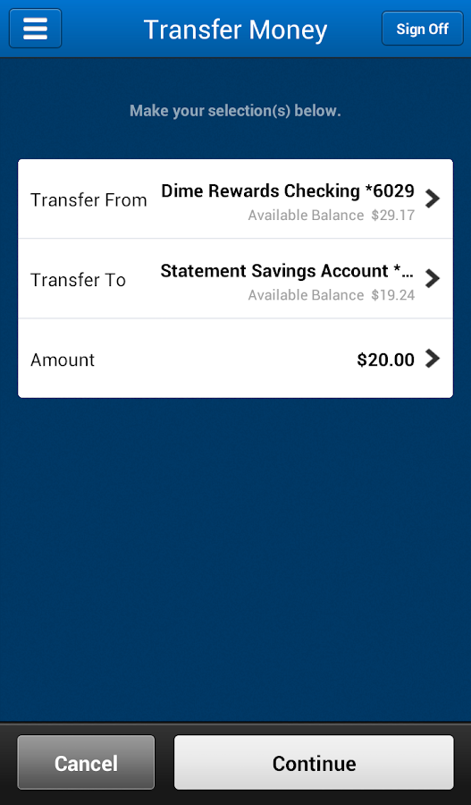 Dime Savings Bank eBanking- screenshot