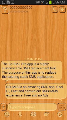 GO SMS Light Wood Theme