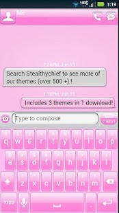 GO SMS Pink Theme + more!- screenshot thumbnail