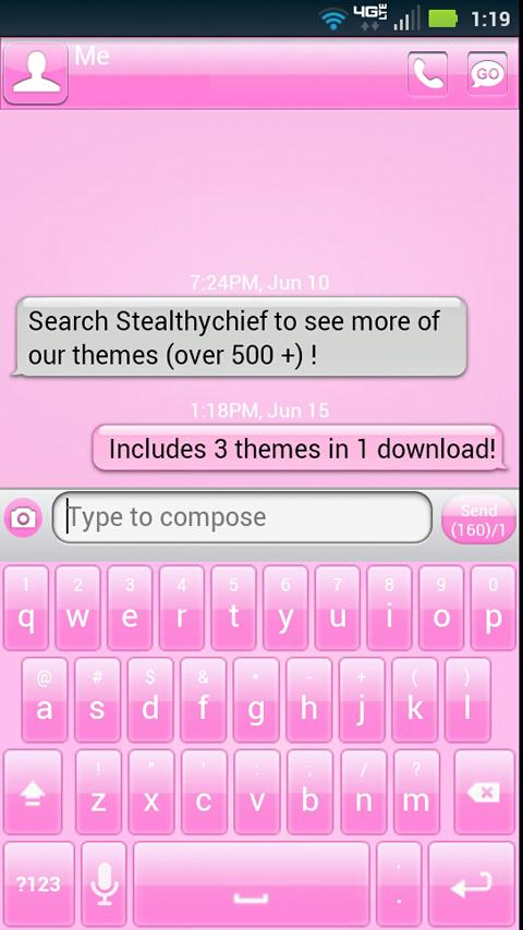 GO SMS Pink Theme + more!- screenshot