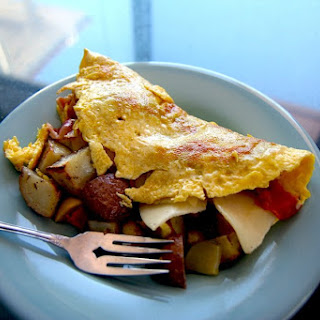 Chorizo, Potato and Green Chile Omelet.