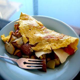 Chorizo, Potato and Green Chile Omelet.