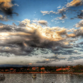 Coloured Clouds Over Small Port by Nat Bolfan-Stosic - Landscapes Cloud Formations ( port, clouds, over, coloured, small,  )