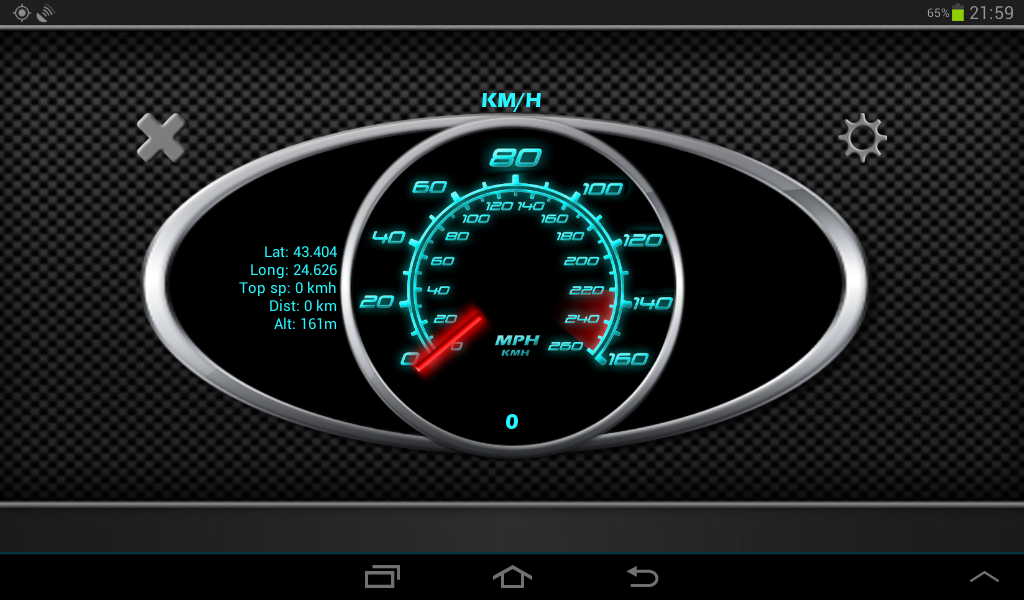 GPS Speedometer in kph and mph- screenshot