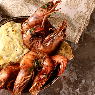 BBQ Louisiana Shrimp and Roasted Corn Grits.