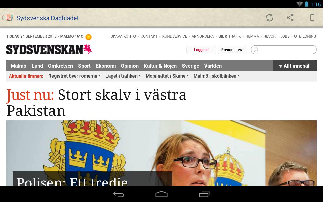 Sverige Tidningar- screenshot