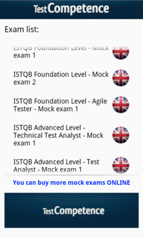 ISTQB Mock Exam TestCompetence- screenshot