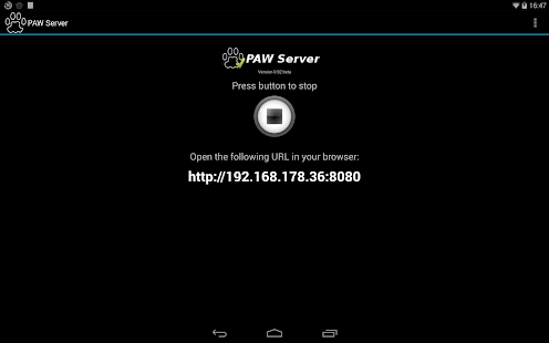PAW Server for Android – Vignette de la capture d'écran