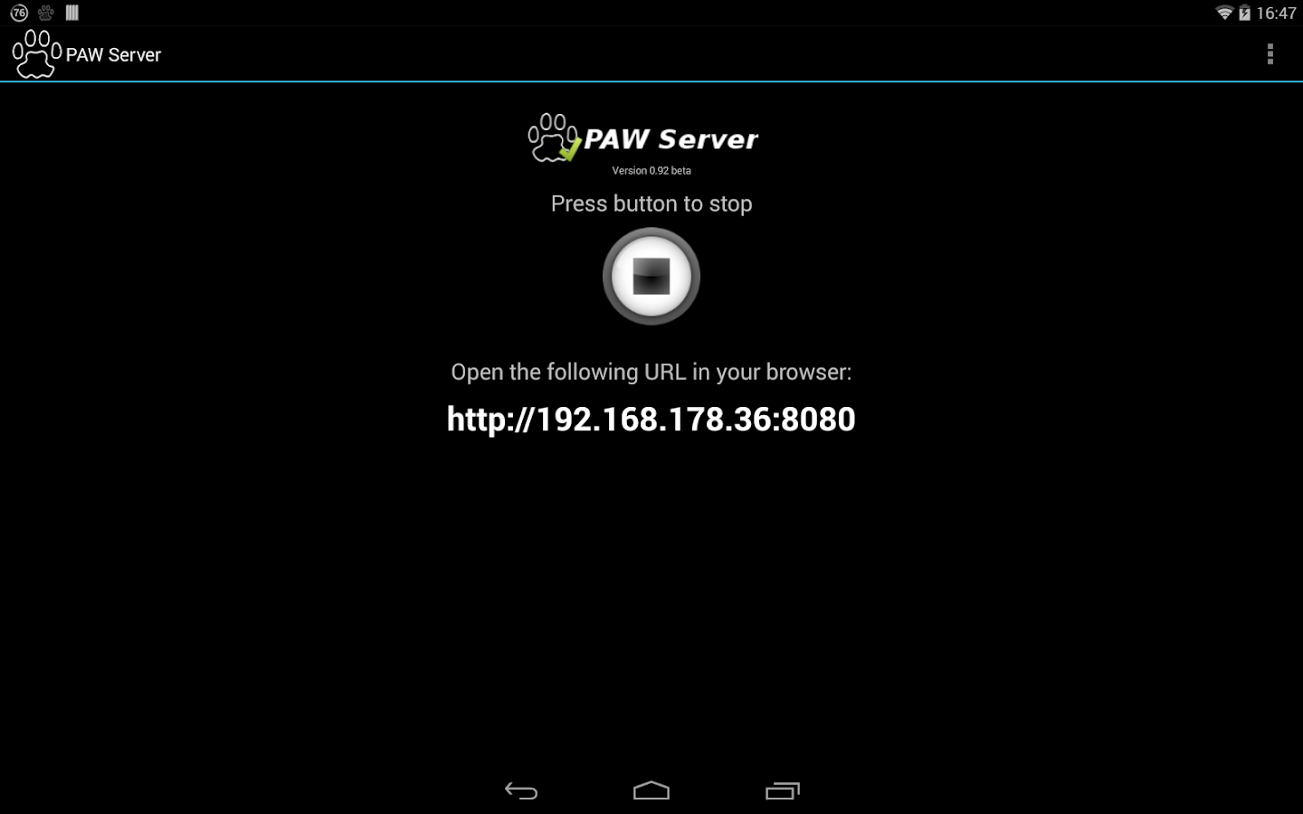 PAW Server for Android- screenshot