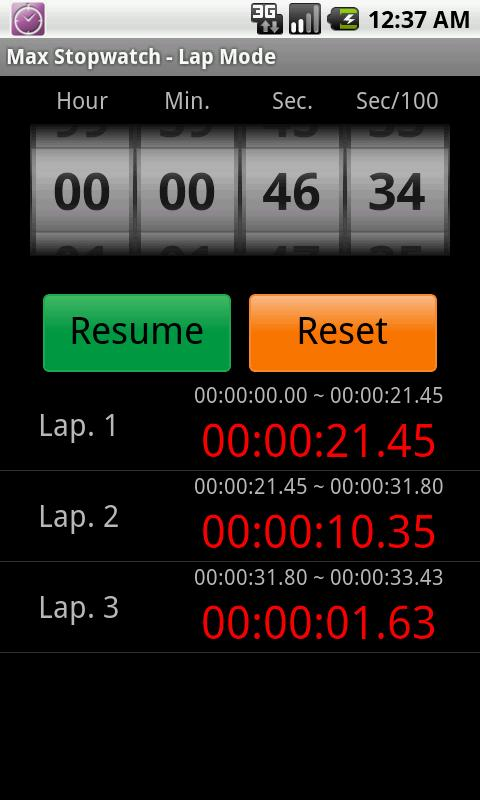 Max Stopwatch- screenshot