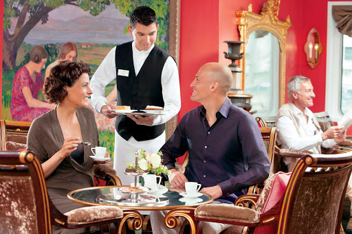 Travel aboard the Uniworld cruise ship River Baroness and enjoy high tea in the Monet Lounge overlooking the river.