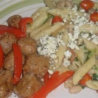 Penne with Spicy Chicken Sausage, Beans, and Greens.