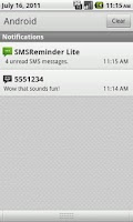 Screenshot of SMS Reminder Lite