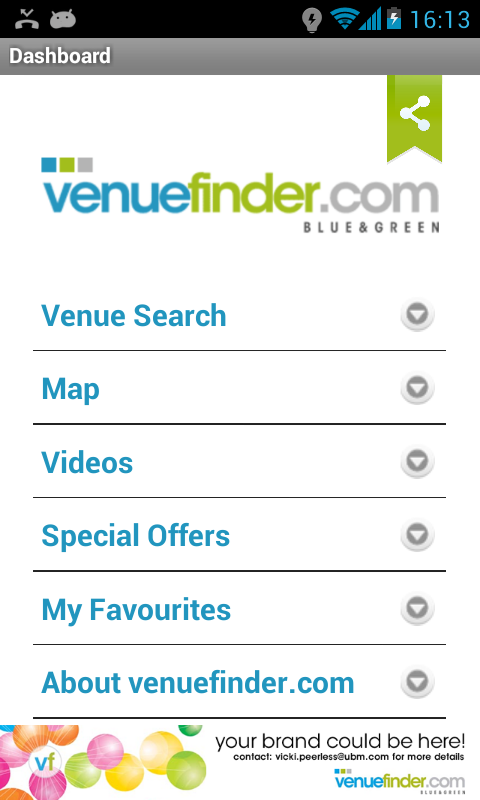 Venuefinder.com- screenshot