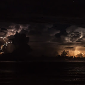 Lightning on the Gulf by Shelley Patterson - Landscapes Weather ( water, lightning, night, stomry )