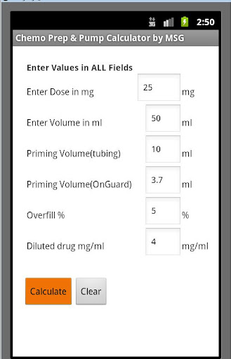 Chemo Prep Pump Calculator