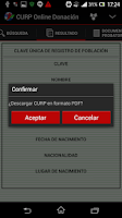 Screenshot of CURP Online Donación
