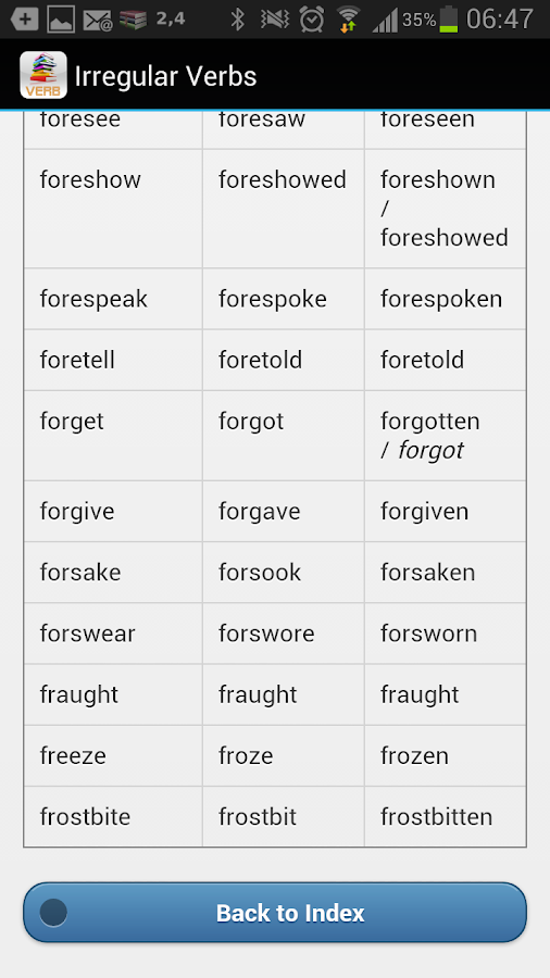 Irregular Verb Dictionary - screenshot