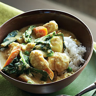 Coconut Ginger Curry with Vegetables and Halibut.