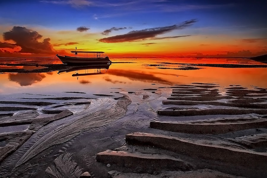 Morning Boat by Ina Herliana Koswara - Landscapes Beaches ( sky, waterscape, sunrise, beach, landscape, boat,  )