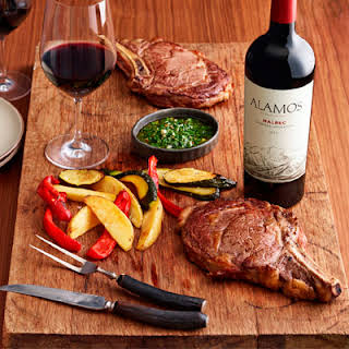 Rib Eye with Chimichurri and Roasted Vegetables.