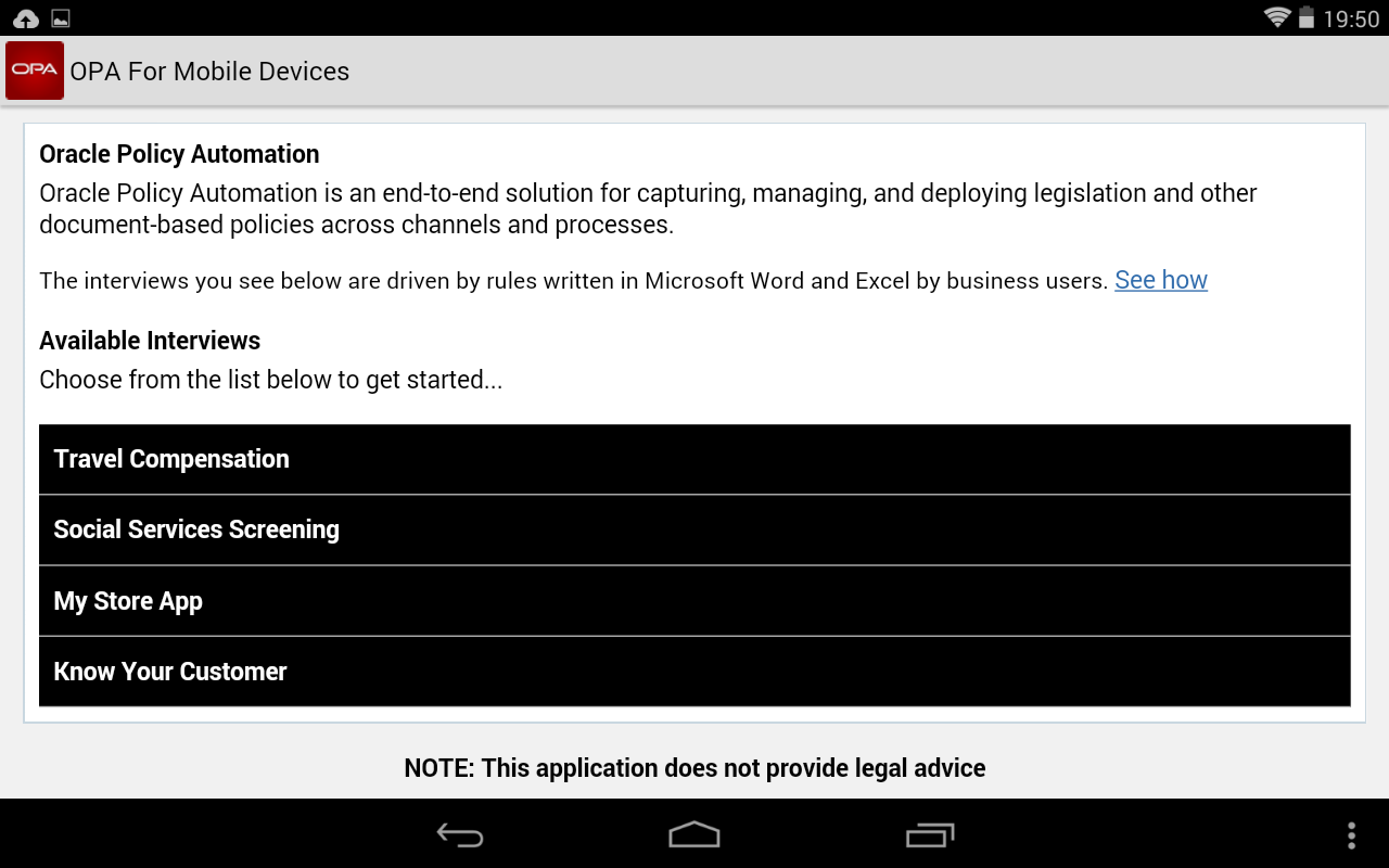 Oracle Policy Automation - screenshot