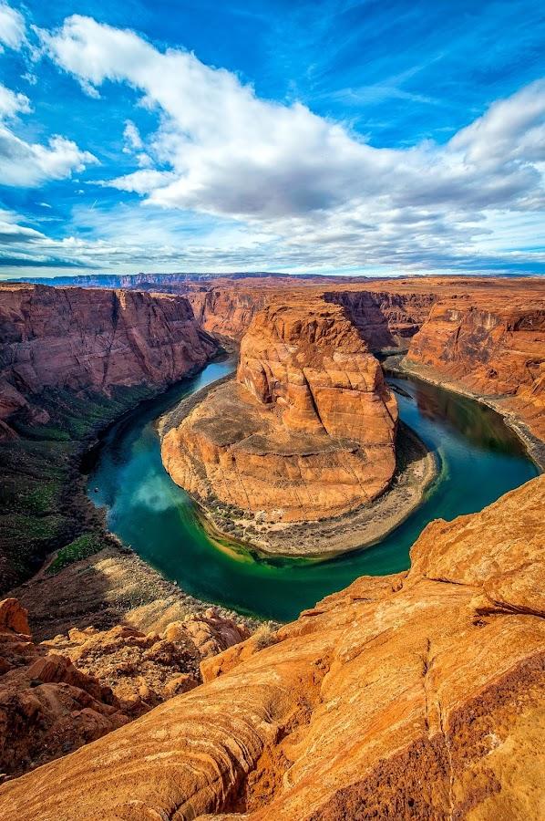 by Brent Clark - Landscapes Deserts ( clouds, desert, landscape, horseshoe bend )