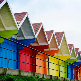 Beach Huts by Andrew Robinson - Buildings & Architecture Other Exteriors ( scarborough, yorkshire, beach huts, beach, colorful, mood factory, vibrant, happiness, January, moods, emotions, inspiration )