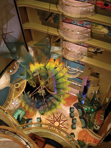 A bird's-eye view of Serenade of the Seas' beautiful Centrum, a multi-story atrium.