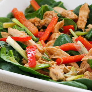 Spinach Salad Recipe with Warm Ginger Vinaigrette.