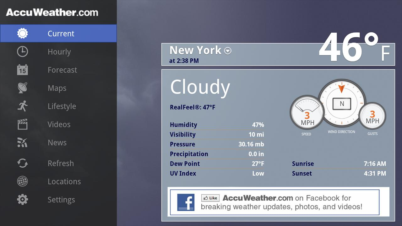 AccuWeather for Sony Google TV- screenshot