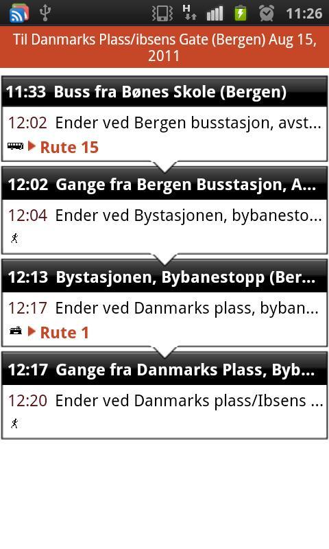 Skyss reiseplanlegger - screenshot