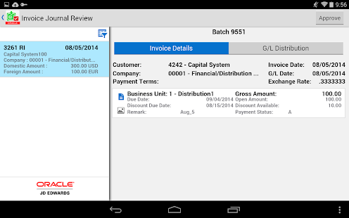 Invoice Batch Appr - JDE E1- screenshot thumbnail