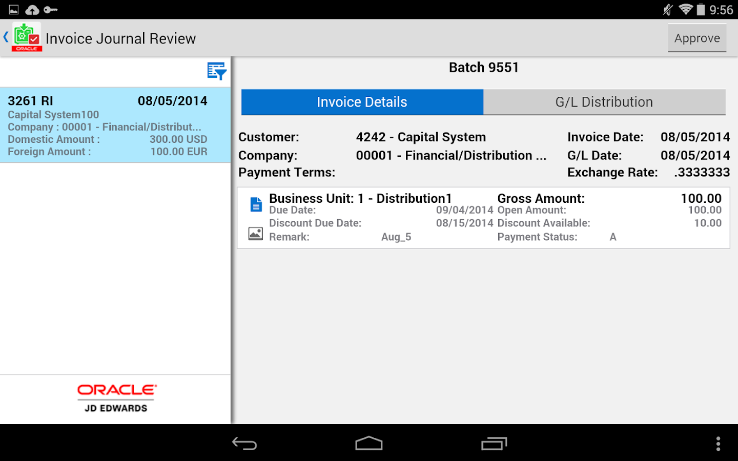 Invoice Batch Appr - JDE E1- screenshot