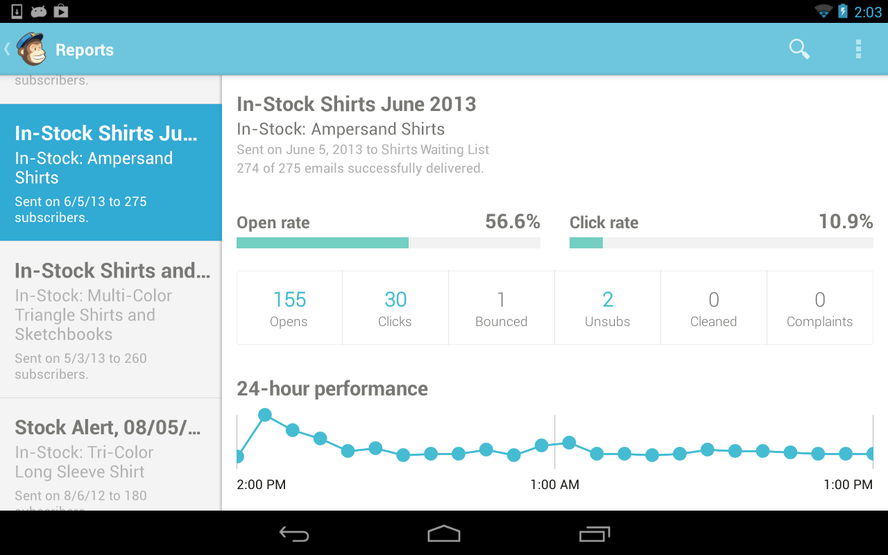 MailChimp for Android- screenshot