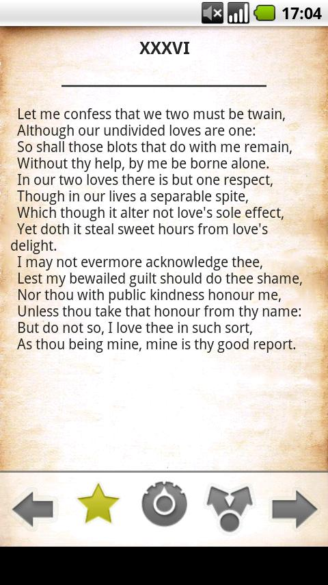 Shakespeare Sonnets free - screenshot