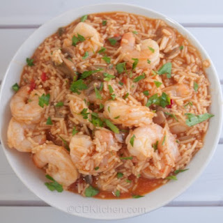 Baked Spanish Rice And Shrimp Casserole.