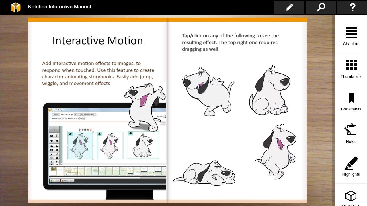 Kotobee Interactive Manual- screenshot