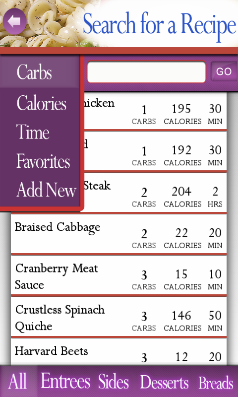 Recipes for Diabetes- screenshot
