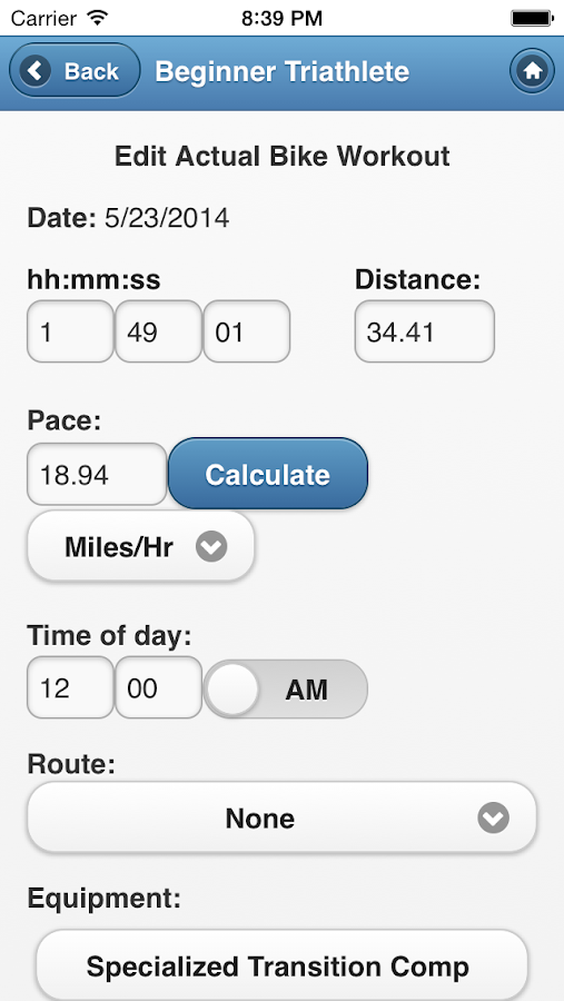 BeginnerTriathlete Mobile- screenshot