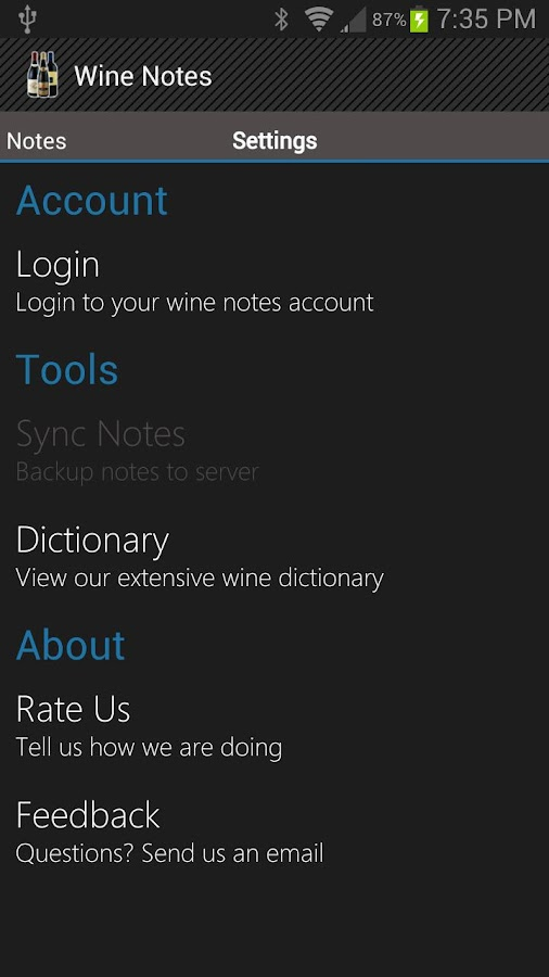 Wine Notes - screenshot
