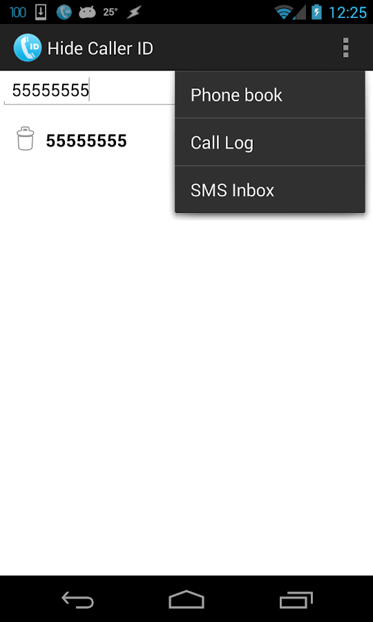 Hide Caller ID- screenshot